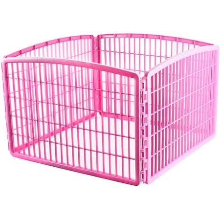 Iris Dog Playpen without Door, Pink, 4 Panel, 24