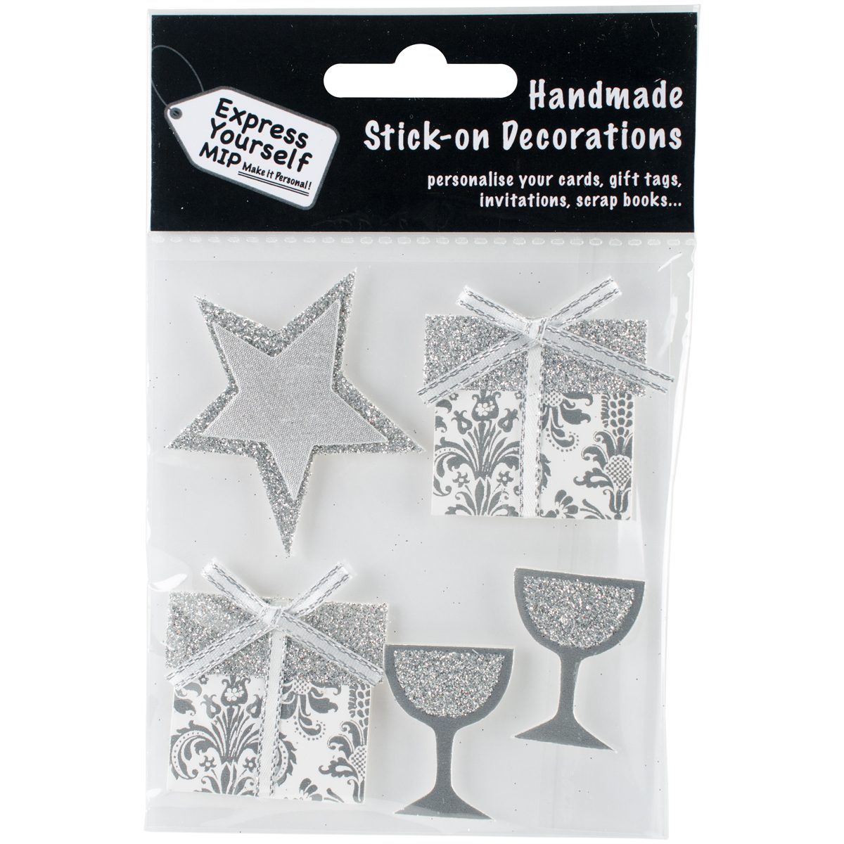 Express Yourself MIP 3D Stickers-Silver Stars, Gifts & Glasses