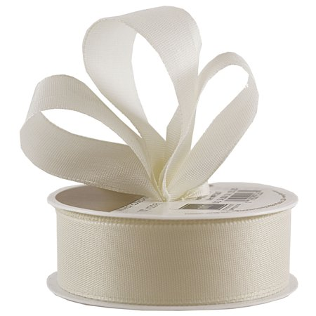 JAM Paper Woven Edge Ribbon, 1 x 12 ft., Ivory, Sold individually