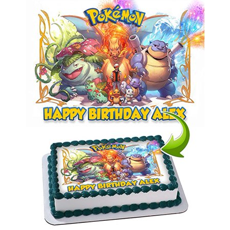 Pokemon Edible Image Cake Topper Personalized Icing Sugar Paper A4 Sheet Frosting Photo