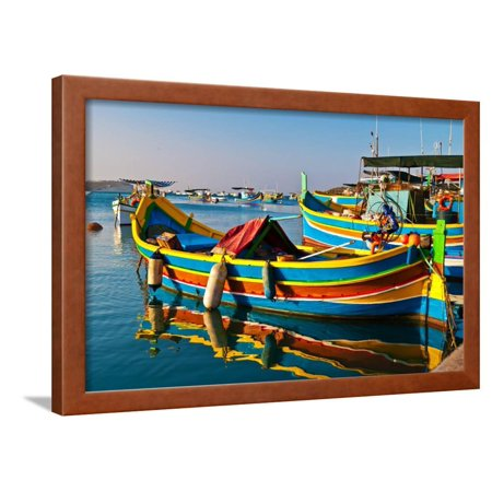 Colored  Boats, Malta Framed Print Wall Art By Mivr