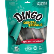 Dingo Dental Spirals Dog Chews, 15 Count, Natural Chewing Action Helps Clean Teeth