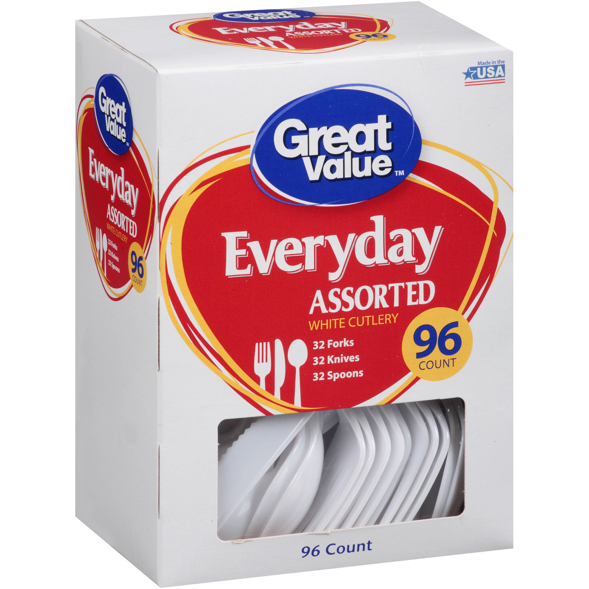 Great Value Everyday Assorted Cutlery, 96 ct