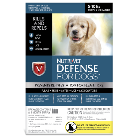- Nutri-Vet K9 Flea & Tick Defense for Dogs Kills & Repels 5-10Lbs