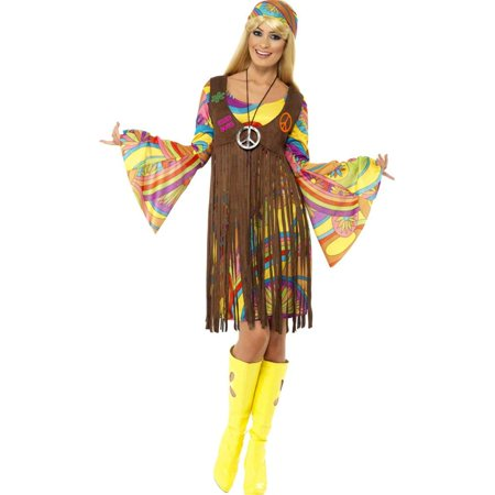 Women's 60s 70s Hippie Girl Peace Dress And Waistcoat Costume Large 14-16 for $<!---->