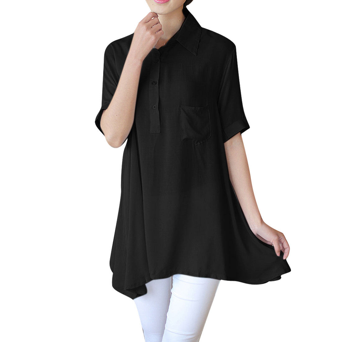 Allegra K Women's Short Sleeve 1/2 Placket Casual Tunic Shirt Black (Size XL / 16)