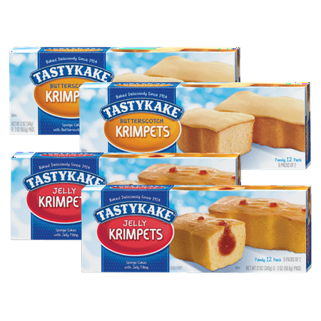 Tastykake Pack (Tastykake Butterscotch and Jelly Krimpets Family Size Variety 4- Pack- A Philadelphia Baking Institution )