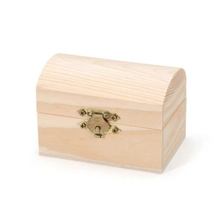 Blank Unfinished Wooden Chest Trinket Box 2.25 Inches - Wooden Treasure Chest Box