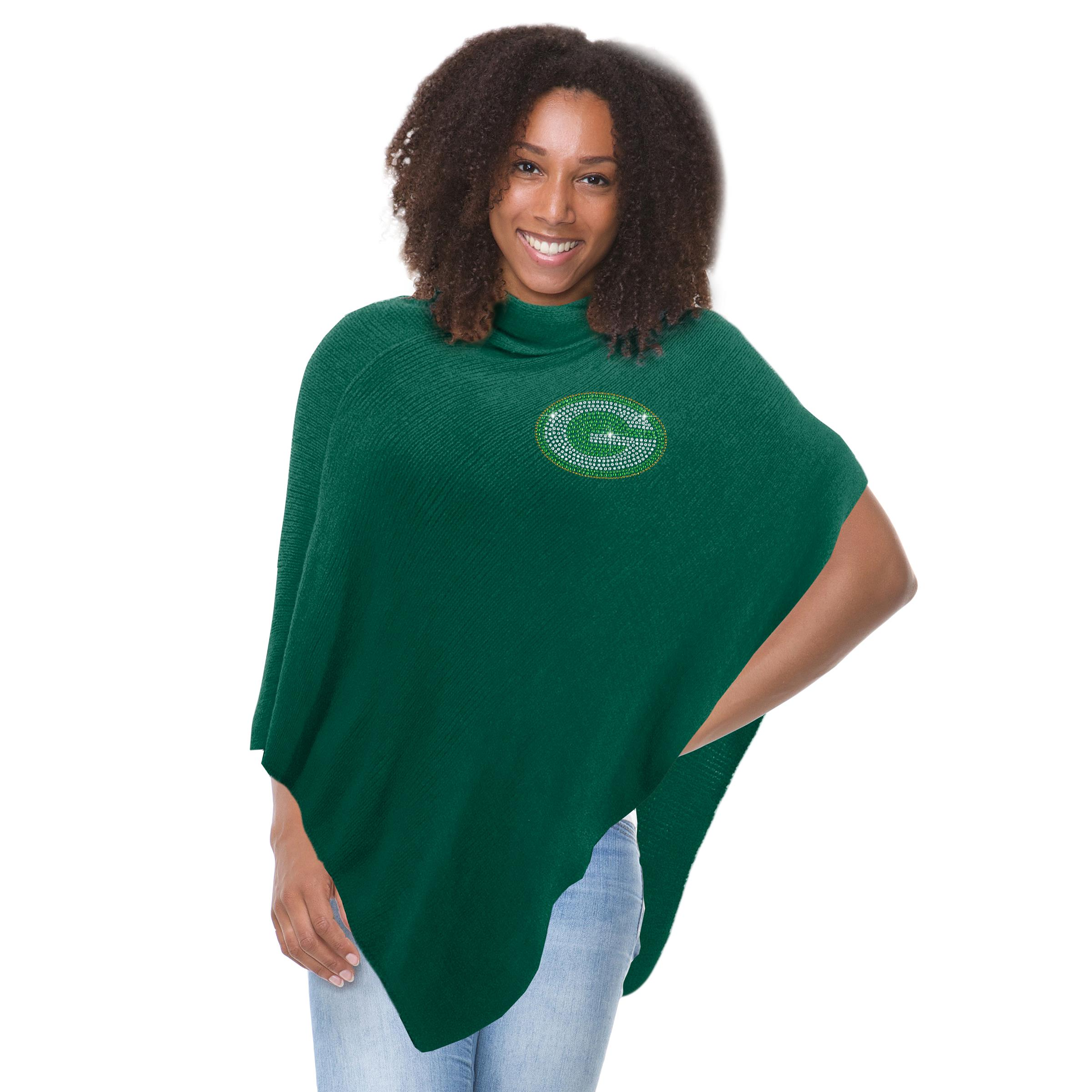 Click here to buy Green Bay Packers Green Crystal Knit Poncho by Little Earth.
