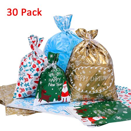 30PCS Christmas Gift Bags Colorful Goodie Drawstring Foil Bags Gift Bags ()