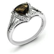 Primal Silver Sterling Silver Rhodium Diamond and Smoky Quartz Ring