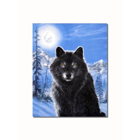 Black Wolf in the Snow in Moonlight at Night Wall Picture 8x10 Art Print
