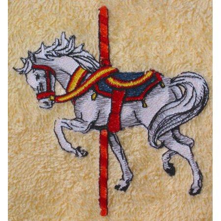 - Big Black Horse Embroidered Carousel Horse Towel Set - Beige