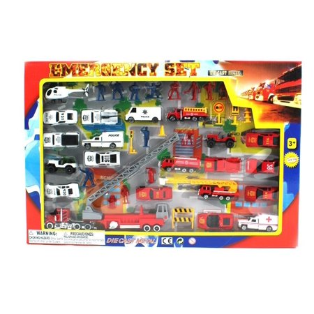 Metro Police Force & Fire Rescue Emergency Crew 44 Piece Mini Toy Diecast Vehicle Play Set, Comes with Street Play Mat, Variety of Vehicles and Figures, Police Toys, Fun Police Vehicles, Great Gift](Fun Toys For Adults)