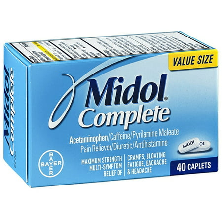 6 Pack - Midol complet Force maximale antidouleur Caplets 40 ch