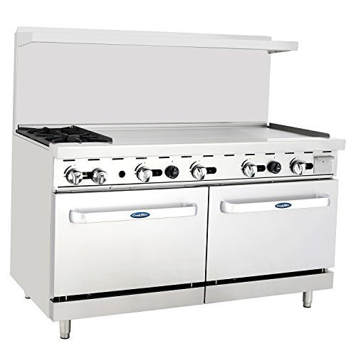 """CookRite Natural Gas Range 2 Burner Countertop Hotplates 48"""" Commercial Griddle With 2 Standard Ovens 60"""" Restaurant Range"""