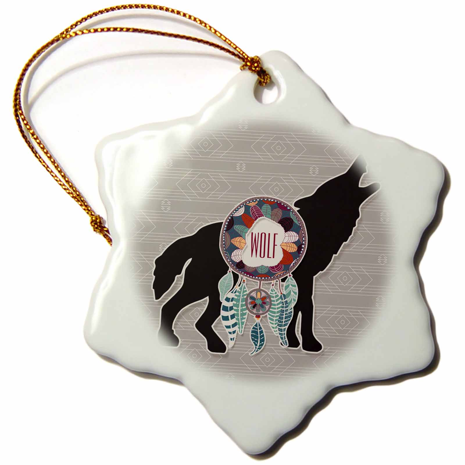 3dRose Native American Zodiac for February 19 to March 20 Wolf, Snowflake Ornament, Porcelain, 3-inch