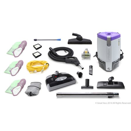 ProTeam Super Coach Pro 6 QT Commercial Backpack Vacuum Cleaner With Power head (Commercial Vacuum Backpack)