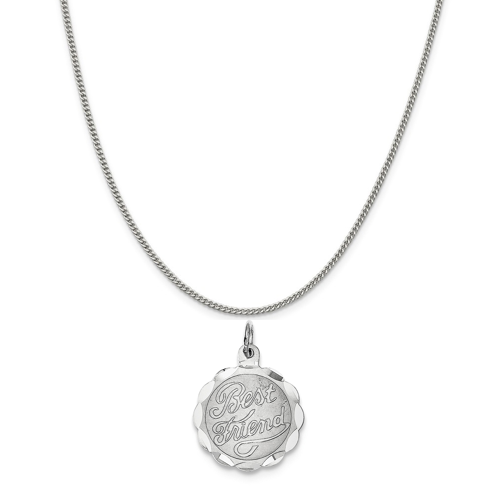 """Sterling Silver Best Friend Disc Charm on a Sterling Silver Curb Chain Necklace, 18"""""""