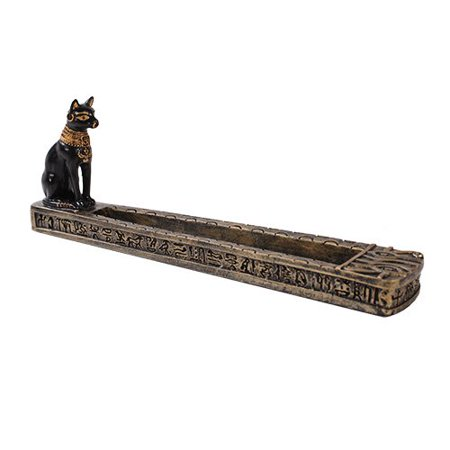Egyptian Theme Ubasti Bastet Cat Deity Incense Burner Sculpture Resin Statue