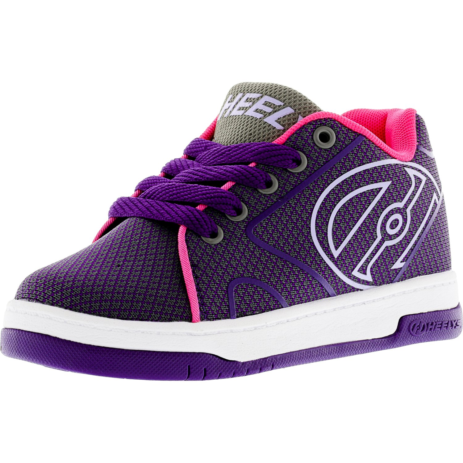 Heelys Propel Knit Grey / Purple Neon Pink Ankle-High Fabric Fashion Sneaker - 13M