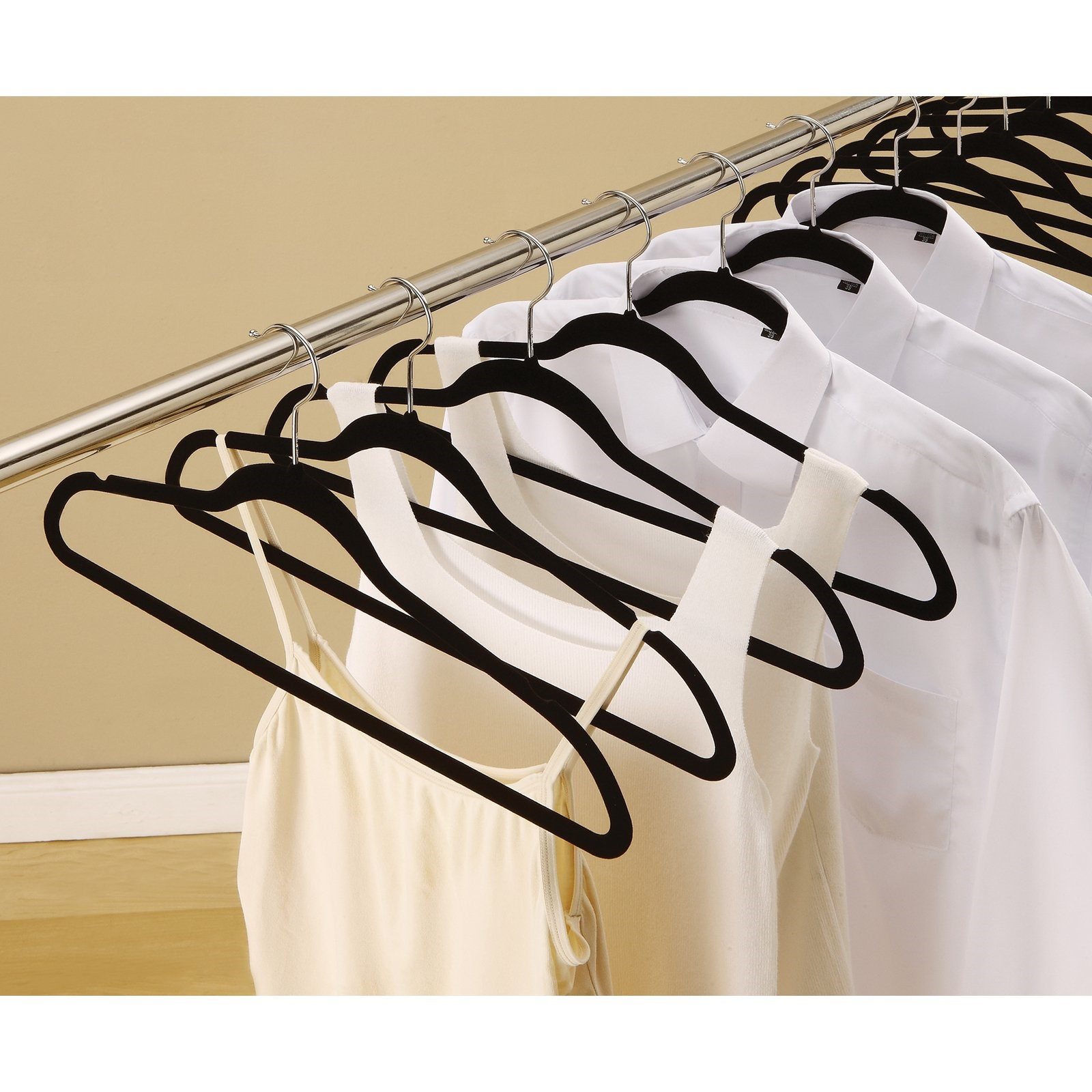 50 Pack Flock Suit Hangers (Black)