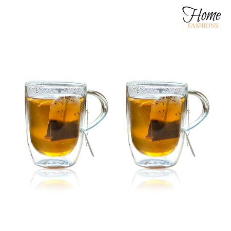 Home Fashions 10 Ounce Double Wall Insulated Coffee Tea Glasses Cups Mugs, Set of 2 - Painted Tea Cup