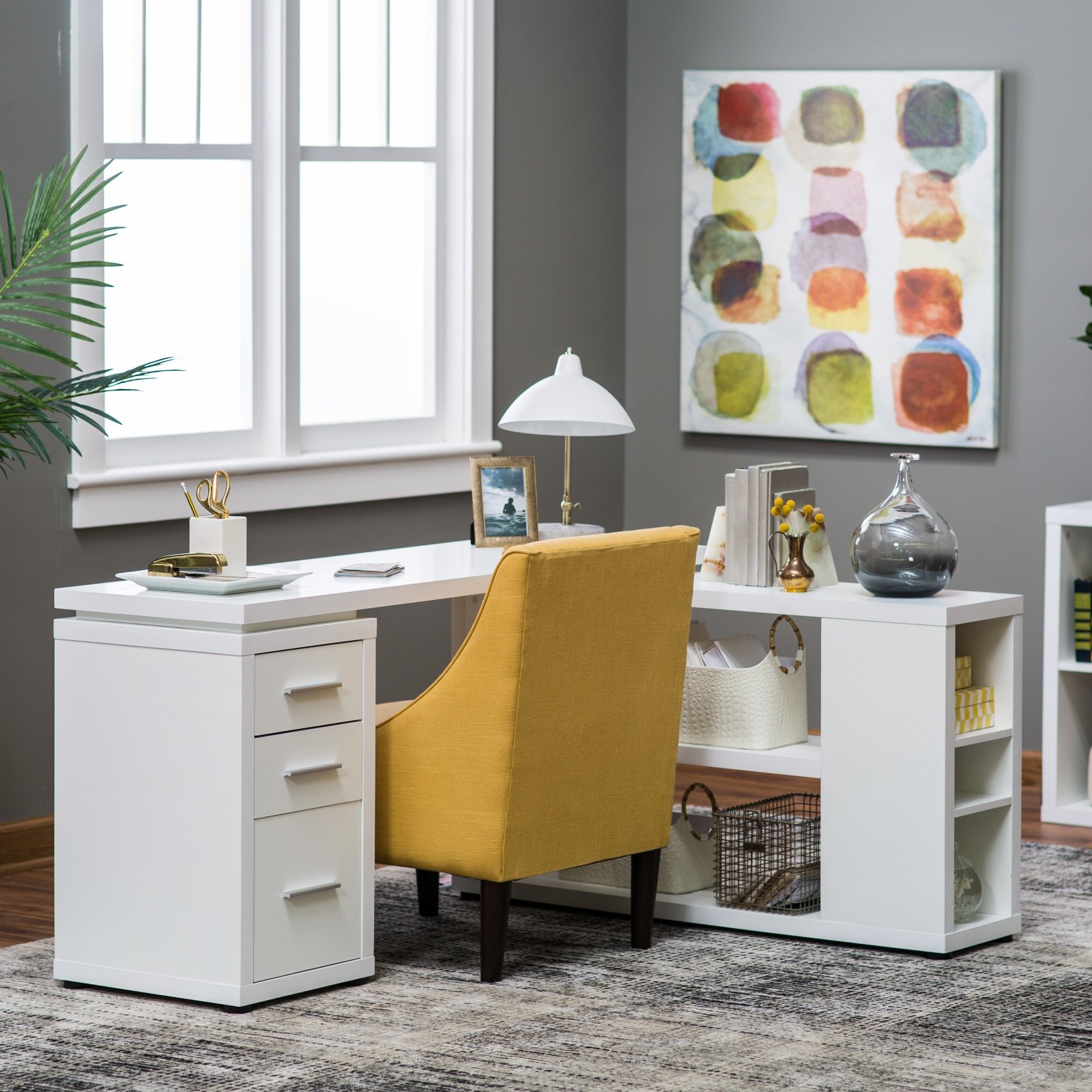 Hudson L-Shaped Desk - White