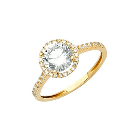 Jewels By Lux14K Yellow Gold Cubic Zirconia CZ Engagement Ring / Set Size 5.5