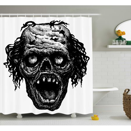 Halloween Shower Curtain, Zombie Head Evil Dead Man Portrait Fiction Creature Scary Monster Graphic, Fabric Bathroom Set with Hooks, 69W X 84L Inches Extra Long, Black Dark Grey, by Ambesonne - Halloween Scary Monsters