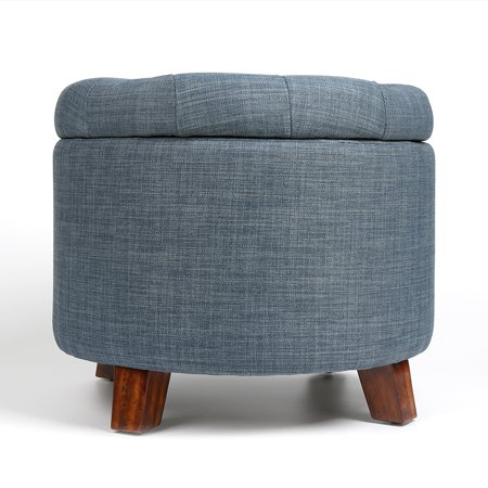 Round Footstool Storage Ottoman with Button Tufted Top Blue