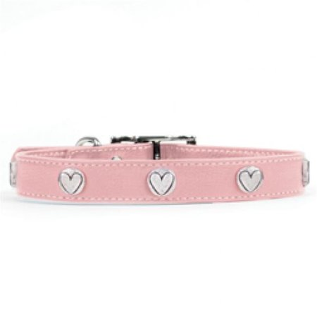 Rockinft Doggie 844587019242 .75 in. x 14 in. Leather Collar with Heart Rivets - Pink - image 1 of 1