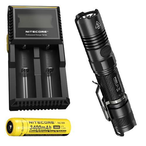 Bundle: Nitecore P12GT Flashlight CREE XP-L HI V3 LED -1000Lm w/ NL189  and  D2