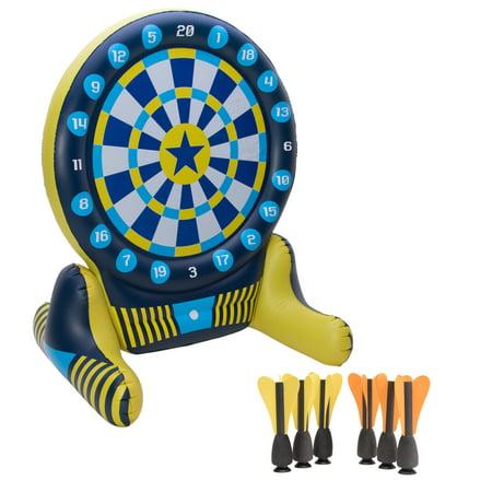 Big Sky - XL Dartboard Set with 6 EVA darts and 1 electric air pump, Blue/Yellow