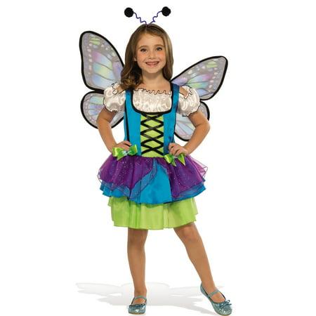 Glittery Blue Butterfly Girl Child Fairy Halloween Costume