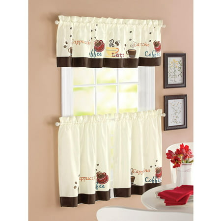 better homes and garden coffee window kitchen curtains set of 2. Black Bedroom Furniture Sets. Home Design Ideas
