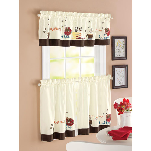 Better Homes and Garden Coffee Window Kitchen Curtains, Set of 2