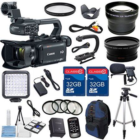 Canon XA35 Professional Camcorder with 2pc 32GB High Speed Memory Cards + Wideangle Lens + Telephoto Lens + LED Light + 4pc Macro Close Up Filters + Accessory Bundle - International Version