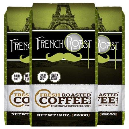 French Roast, Whole Bean Coffee, Fresh Roasted Coffee LLC. (12 oz. 3pk Whole Bean) ()