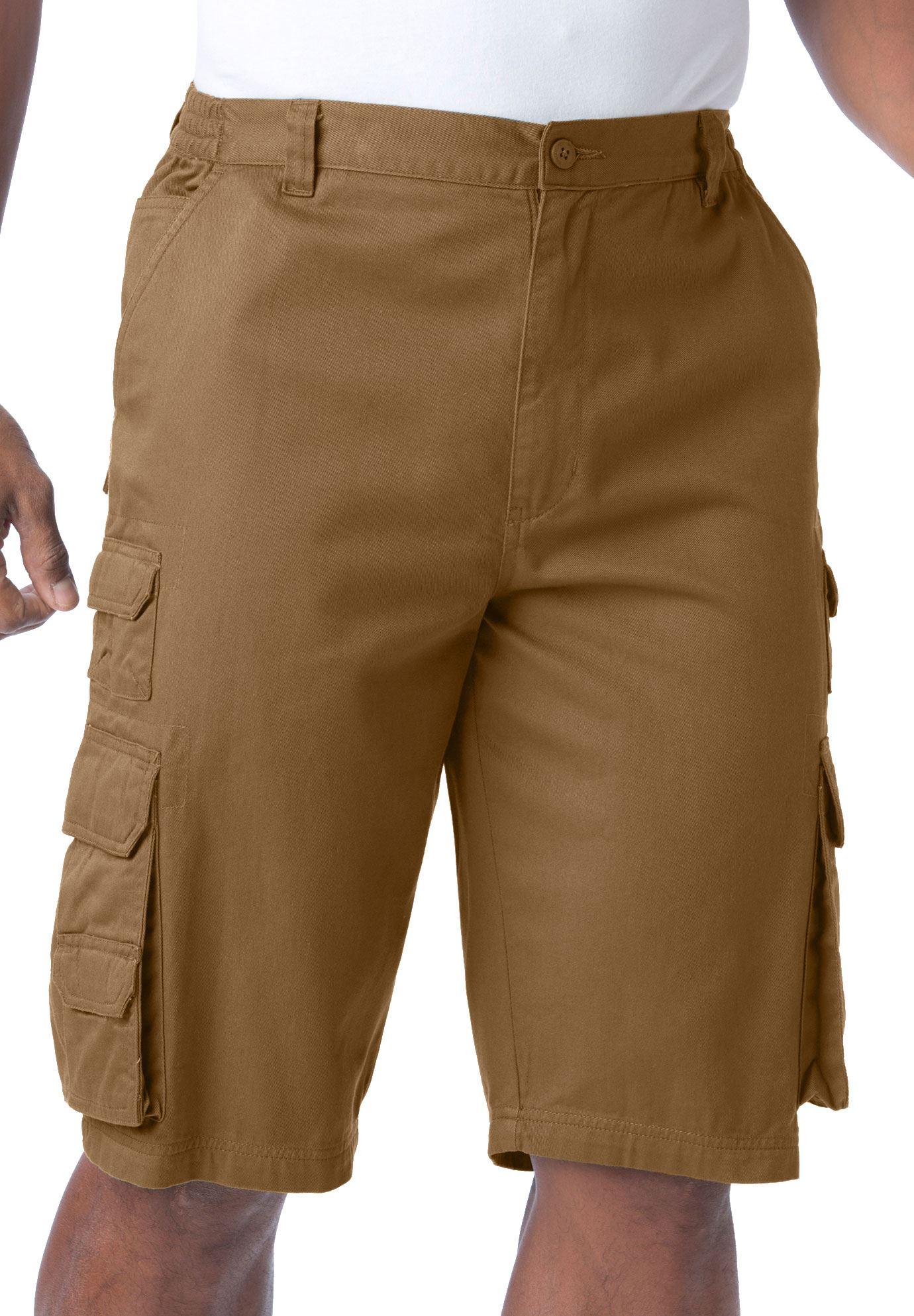 Boulder Creek by Kingsize Mens Big /& Tall 12 Side-Elastic Stacked Cargo Pocket Shorts