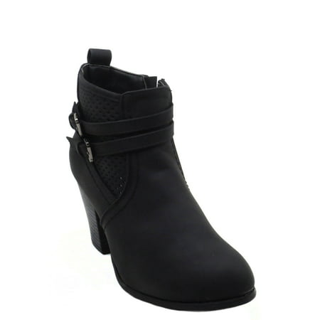 Front Zip Boots - Blue Womens Low Heel Ankle High Lace Up Side Zip Fashion Winter Fall Boots 2018 Holidays Collection-DOLDA-1 Size -006 BLACK