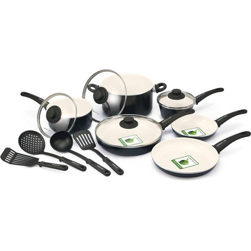 The Cookware Company GreenLife Healthy Ceramic Non - Stick 14 - Piece Soft Grip Cookware Set