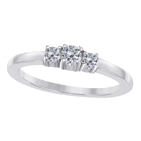 0.24 Ct. Ttw Pretty 3 Stone Diamond Engagement Wedding Ring In 10k White Gold - Cheap Pretty Rings