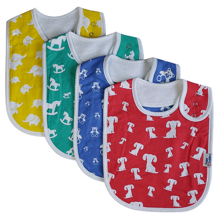 Baby Bibs Large Absorbent Cotton Toddler Bib with Snap Buttons (4-Pack)