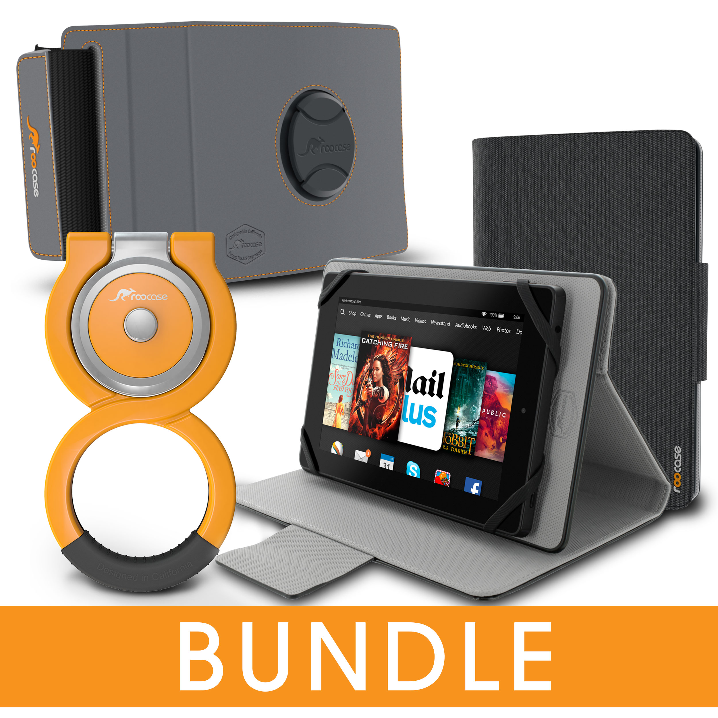 roocase Universal Tablet Orb Bundle, Folio Case Cover Stand for Tablet with Orb Loop and Strap - Rotating and Detachable Tablet Shell Case, Black [Patented Orb System]