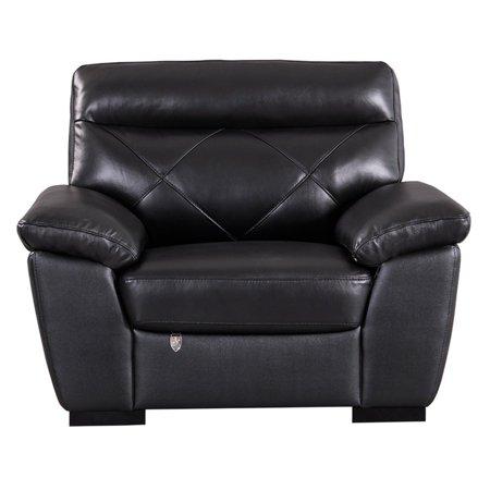 Black Italian Vachetta Leather (American Eagle Furniture Bayshore Black Italian Leather Chair )