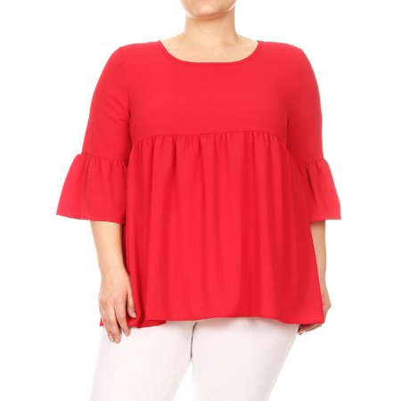 MOA COLLECTION Women's Plus Size Solid Basic 3/4 Bell Sleeve Pleat Hem Babydoll Tunic Top Tee