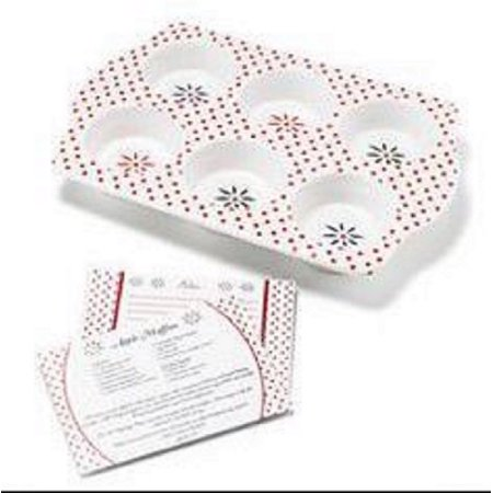 "11.5"" White and Red Polka Dot Vintage Floral Pattern Stoneware Muffin Pan With Recipe Card"