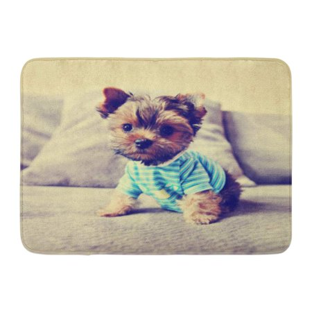 SIDONKU Dog Cute Yorkie in Toned Retro Vintage Pet Overlay Baby Best Puppy Doormat Floor Rug Bath Mat 23.6x15.7