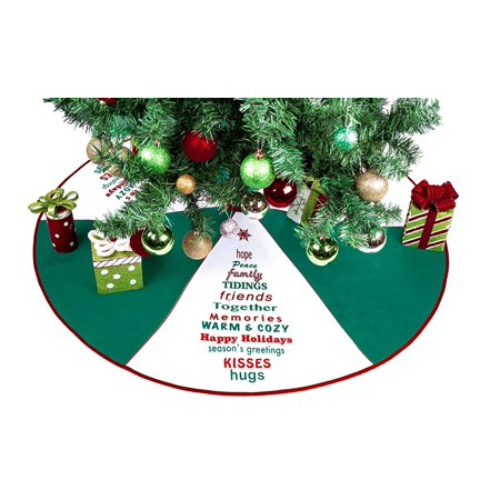 Green White Tree Skirt With Greetings 36 Christmas By Imperial Home